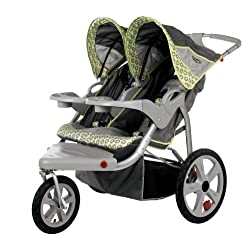 InStep Safari Swivel Wheel Double Jogger Gray/Green
