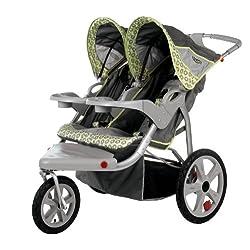 InStep Safari Swivel Wheel Double Jogger Gray/Green