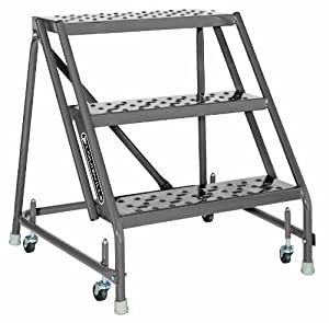 Louisville Ladder GSW2403 Rolling Warehouse Ladder with 24-Inch Step Width, 30-Inch Platform Height, 3-Step