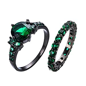 RongXing Jewelry New Mysterious Rainbow Topaz Ring,14KT Black Gold Wedding Rings Sz 10