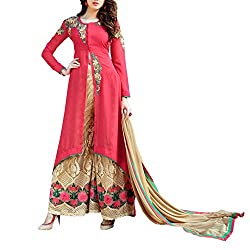 Destiny Enterprise Designer Gorgette Unstitched Red and Golden Palazzo Salwar Suit Dress Material for Women