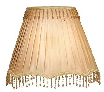 Oaks Lighting 12 inch  Lined Faux Silk Scallop Base Shade with Matching Beaded Trim, Coffee