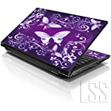 """LSS 15 15.6 inch Laptop Notebook Skin Sticker Cover Art Decal Fits 13.3"""" 14"""" 15.6"""" 16"""" HP Dell Lenovo Apple Asus Acer Compaq (Free 2 Wrist Pad Included) Purple Butterflies"""