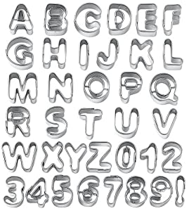 Wilton Fondant Alphabet Number Cookie Cutter Cut Outs, Set of 37