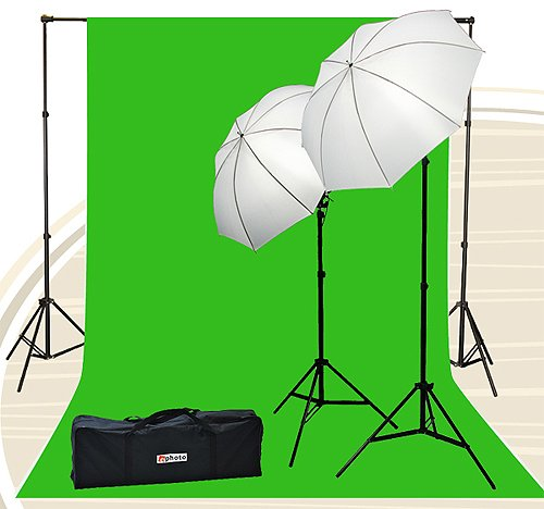 Fancierstudio Chromakey Green Screen Kit 800 watt 10x20 Ft Chroma Key Green Screen Photo Video Lighting Kit Backdrop Support System Included Ul15 10x20 Green By Fancierstudio U15 10x20 Green (Color: Green)