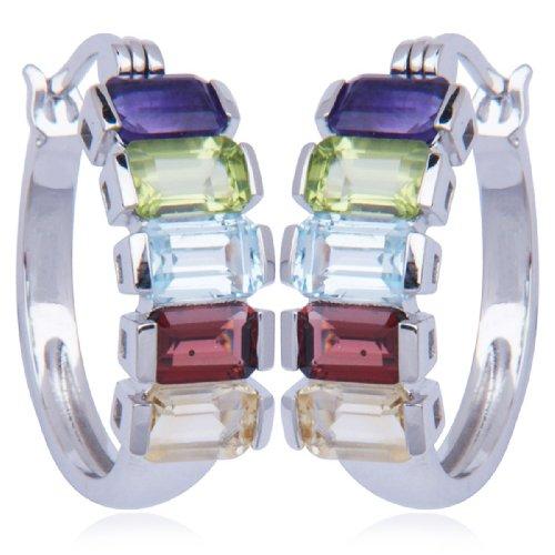 Sterling Silver Multi-Gemstone Hoop Earrings