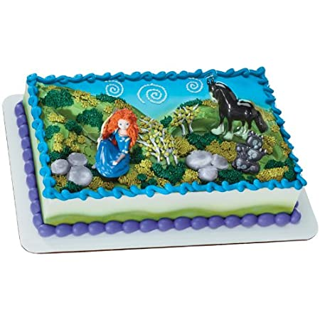 "From the Disney/Pixar Brave Movie Party Supply Collection. Merida and Angus Cake Topper Set. The perfect addition to your cake decorations. This cake topper features the adventurous Mirida and her trusty horse Angus. Measures 3"" high."