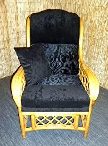 Luxury Cushion Covers for Cane Wicker and Rattan Conservatory and Garden Furniture - Black & Silky Chenilles - RRP £79.99 by Zippy UK