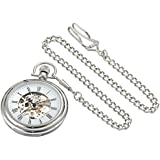 Stuhrling Original Men's 6053.33113 Vintage Mechanical Skeleton Stainless Steel Pocket Watch