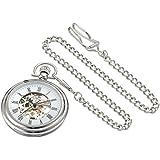 Stuhrling Original Men's 6053.33113 Vintage Mechanical Skeleton Stainless Steel Pocket Watch