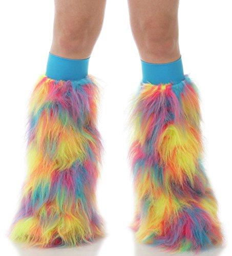 TrYptiX Women's Tropical Sherbert Leg Warmer Fluffies (One Size, Turquoise Kneebands)