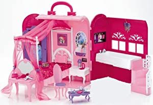 barbie x7415 glam bedroom bath carry case playset doll not