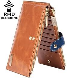 Borgasets RFID Blocking Women\'s Genuine Leather Zipper Wallet Card Case Purse Brown