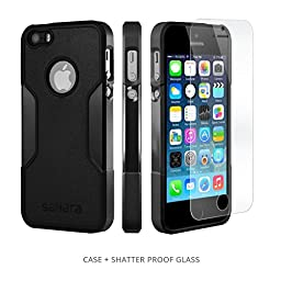iPhone SE Case, iPhone 5s 5 SE (Black) SaharaCase® Protective Kit Bundled with [Tempered Glass Screen Protector] Slim Fit Rugged Protection Case Shockproof Bumper Hard Back (Black)