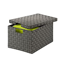 Honey-Can-Do OFC-03703 Double Woven File Box with Lid and Handles, 14 by 17.75 by 10.75-Inch, Salt/Pepper