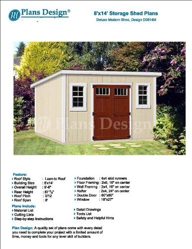 Features of 8' x 14' Deluxe Storage Shed Plans / Building Blueprints