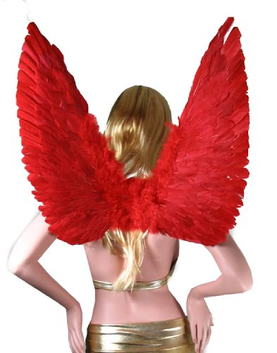 SACAS Large Red Feather Angel Fairy Wings with Free Halo for party
