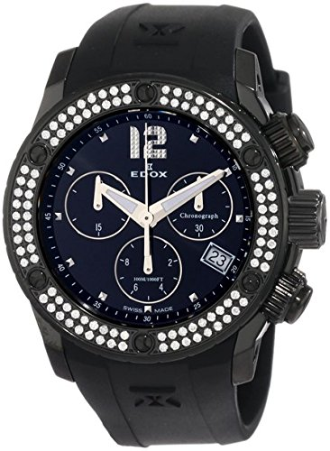 Edox Women's 10403 37ND NIN Class 1 Black Ion-Plating Chronograph Diamond Watch