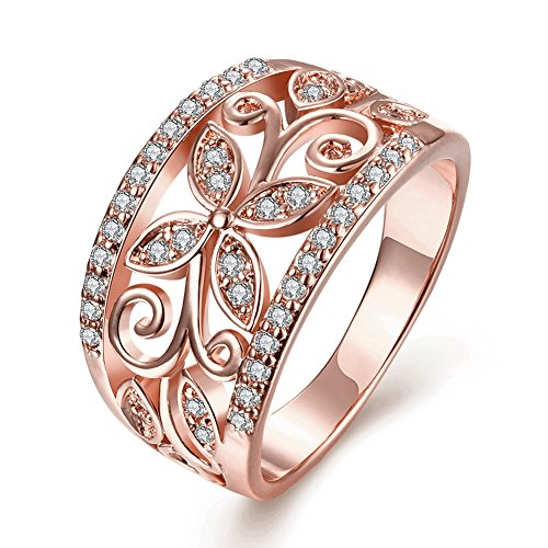 Zarbrina Women's Fashion Rose Gold Plated Cubic Zirconia Wedding Band Flower Engagement Promise Ring
