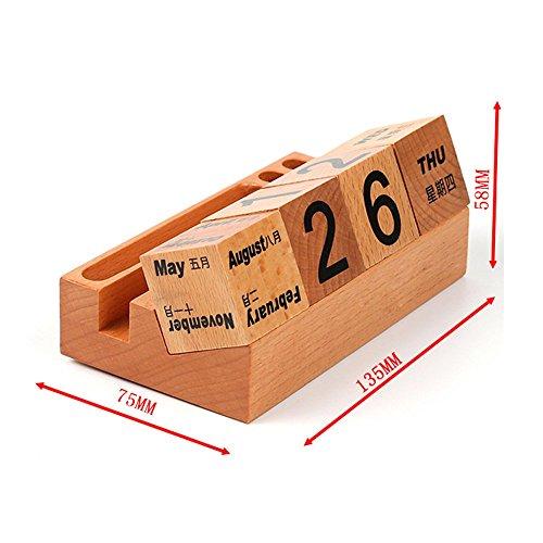 Calendar Wood Stand : Estgo durable wooden block perpetual calendar vintage