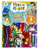 Mister Maker Glitter Makes Kit. Each kit is full of festive glitter pom poms, sequins, holographic papers, metallic shapes, glitter and glitter card. Lots of fun glitter items. Ideal gift for craft makers