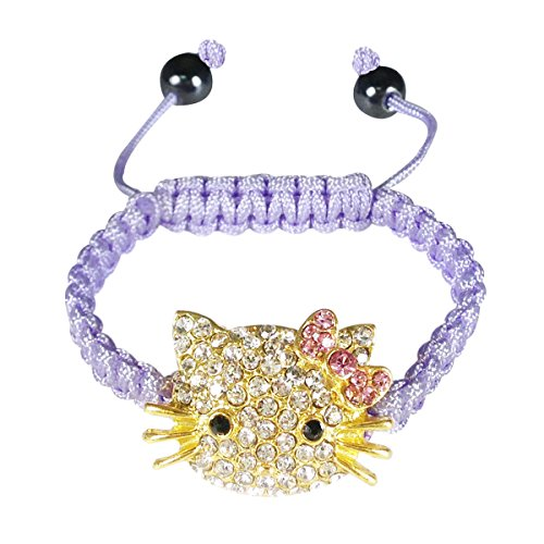 Wrapables Children's Shamballa Inspired Kitty Cord Bracelet - Purple