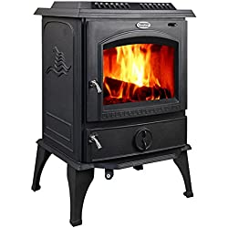 HorseFlame all cast iron freestanding wood burning stove 717U Matt black