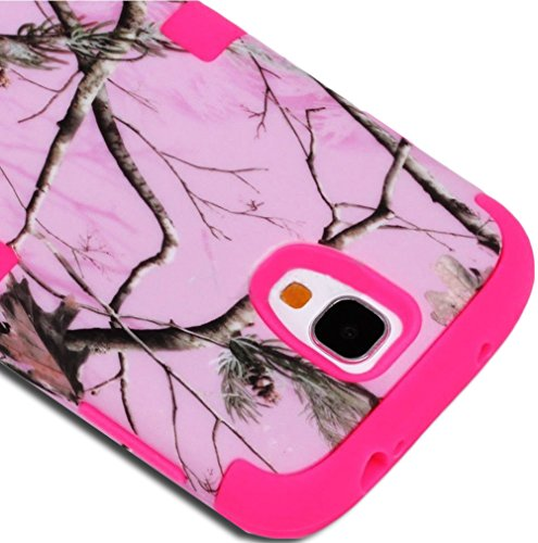 "Mylife (Tm) Rose Pink - Light Pink Tree Camouflage Design (3 Piece Hybrid) Hard And Soft Case For The Samsung Galaxy S4 ""Fits Models: I9500, I9505, Sph-L720, Galaxy S Iv, Sgh-I337, Sch-I545, Sgh-M919, Sch-R970 And Galaxy S4 Lte-A Touch Phone"" (Fitted Fron"