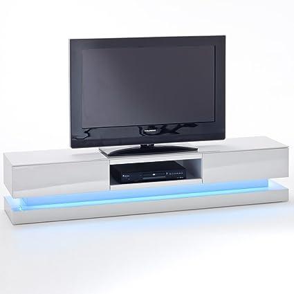 TV Lowboard STEP Möbel Media Schrank Tisch Hochglanz Lack Weiss LED Beleuchtung