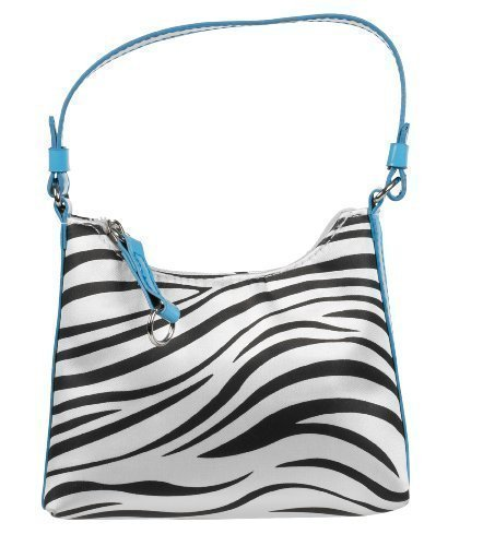 Girls Stylish Designer Zebra Print Handbag With Blue Strap. Light Weight