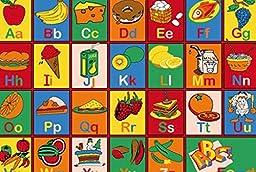7X10 Educational Area Rug Abc Food Names School Learning Time Alphabet Fruit