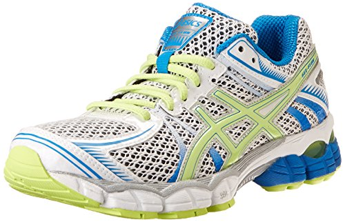 01HN7RY ASICS Women's Gel-Flux Running Shoe,White/Sharp Green/Blue,5.5 M US