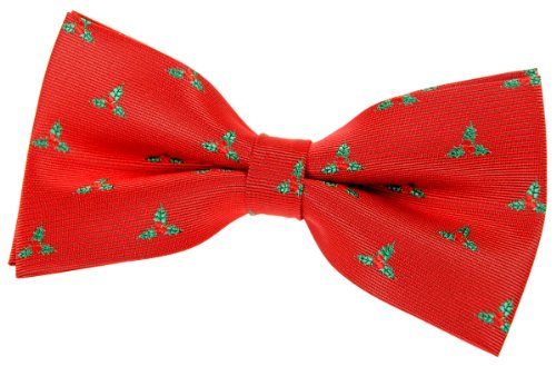 """Retreez Christmas Holly Leaves Woven Pre-Tied Bow Tie (5"""") - Red, Christmas Gift"""