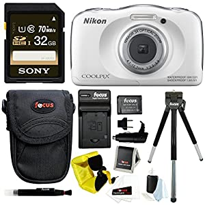 Nikon COOLPIX S33 Waterproof Camera (White) w/ and 32GB SD Card & Battery Pack Bundle