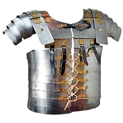Lorica Segmenta Silver Chest Plate - Knight Costume Armor Fencing Chest Guards- One Size Fits Most - Metallic Chestplate