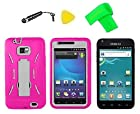 Heavy Duty Hybrid Phone Cover Case Cell Phone Accessory + Extreme Band + Stylus Pen + LCD Screen Protector + Yellow Pry Tool For Straight Talk TracFone Samsung Galaxy S II S 2 S959 S959G SGH-S959G (Pink/White)