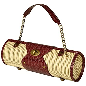 Picnic at Ascot Wine Carrier and Purse, Straw/Brown