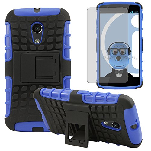 Italkonline Motorola Moto G (2014) G2 2Nd Generation Blue Black Tough Hard Shock Proof Rugged Heavy Duty Case Cover With Viewing Stand And Lcd Screen Protector Guard