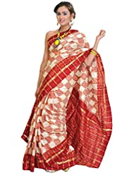 Exotic India Cream And Red Ikat Saree Hand-Woven In Pochampally With Golde - Red
