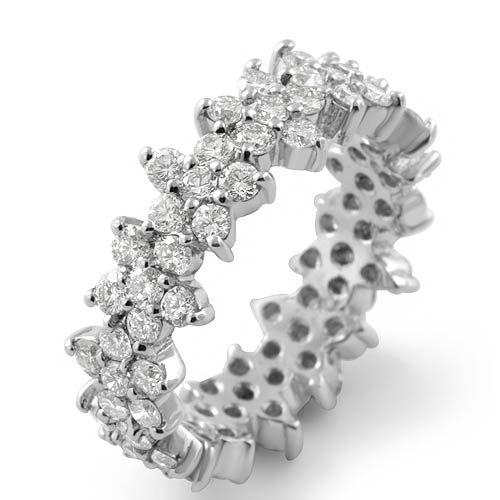 Round Eternity Flower Cz Bridal Wedding Ring Sterling Silver 925 Sz5