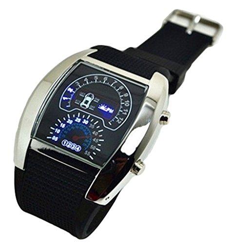 Choose belt wind speed meter design watch waterproof LED digital (black)