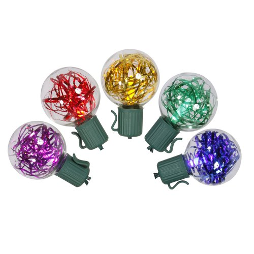 Set of 25 Multi Colored LED G40 Tinsel Christmas Lights   Green Wire