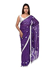 A1 Fashion Women Georgette Self-Print Purple Saree With Blouse Piece