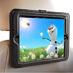 iPad Air Headrest Mount For Car- iPad Air and Air 2 - Holder in Car Will Keep the iPad Secure Within A Strong PU Leather Case. Safest iPad Car Mount