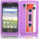 Retro Cassette Silicone Case Cover Shell For Samsung Galaxy Ace S5830 / Purple