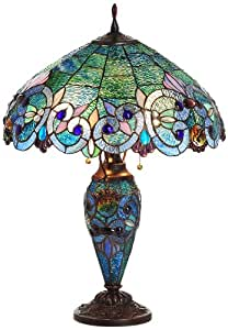 River of Goods 11560 26-Inch H Aqua Stained Glass Double Lit Table Lamp