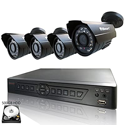 iSmart 4 Channel H.264 CCTV Security Surveillance HDMI Motion Recording DVR & 4 CMOS Outdoor Weatherproof IR Night Vision Bullet 700TVL Cameras with pre-installed 500GB Hard Drive (D6104FH + 500GB + C1030DP7x4)