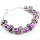 Pandora compatible Purple Zirconia Charm with Murano Glass Beads Charm Bracelet