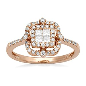 14kt Pink Gold 0.50ct Princess cut and Round White Diamond Ornamental Round Cluster Ring, Size 7