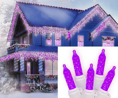 Set of 70 Purple LED M5 Icicle Christmas Lights